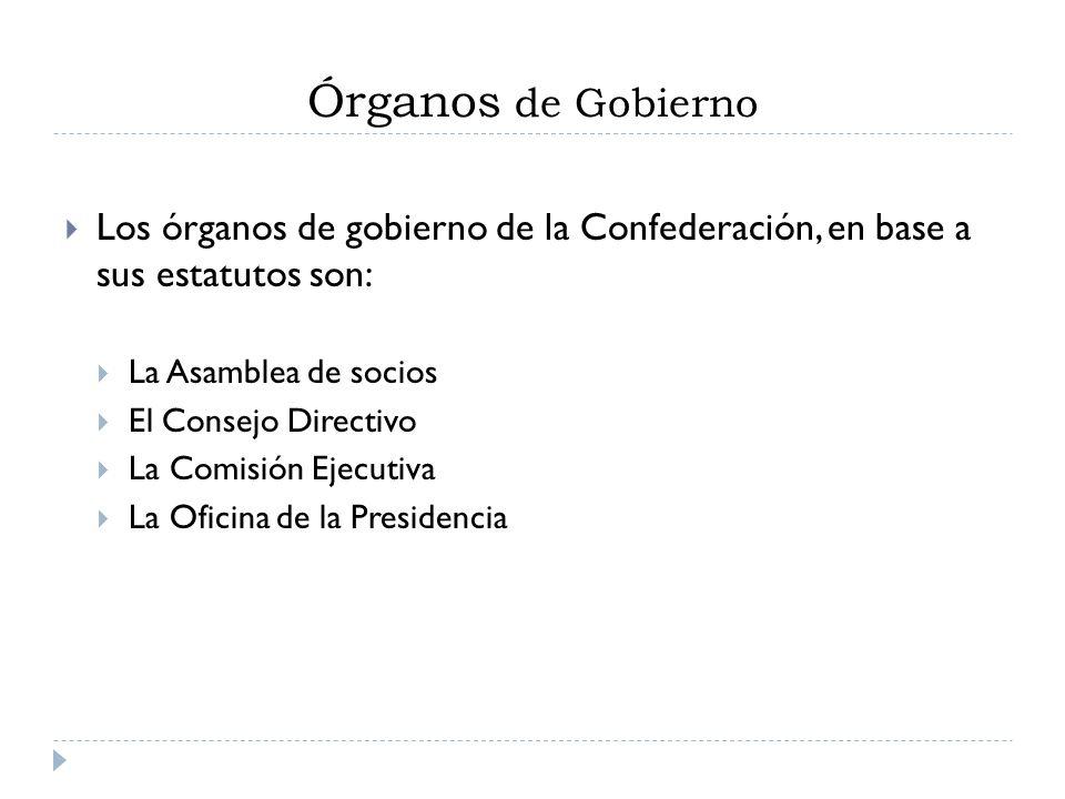 Órganos de Gobierno Los órganos de gobierno de la Confederación, en base a sus estatutos son: La Asamblea de socios.