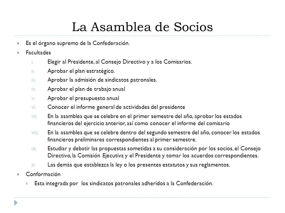 La Asamblea de Socios Es el órgano supremo de la Confederación.