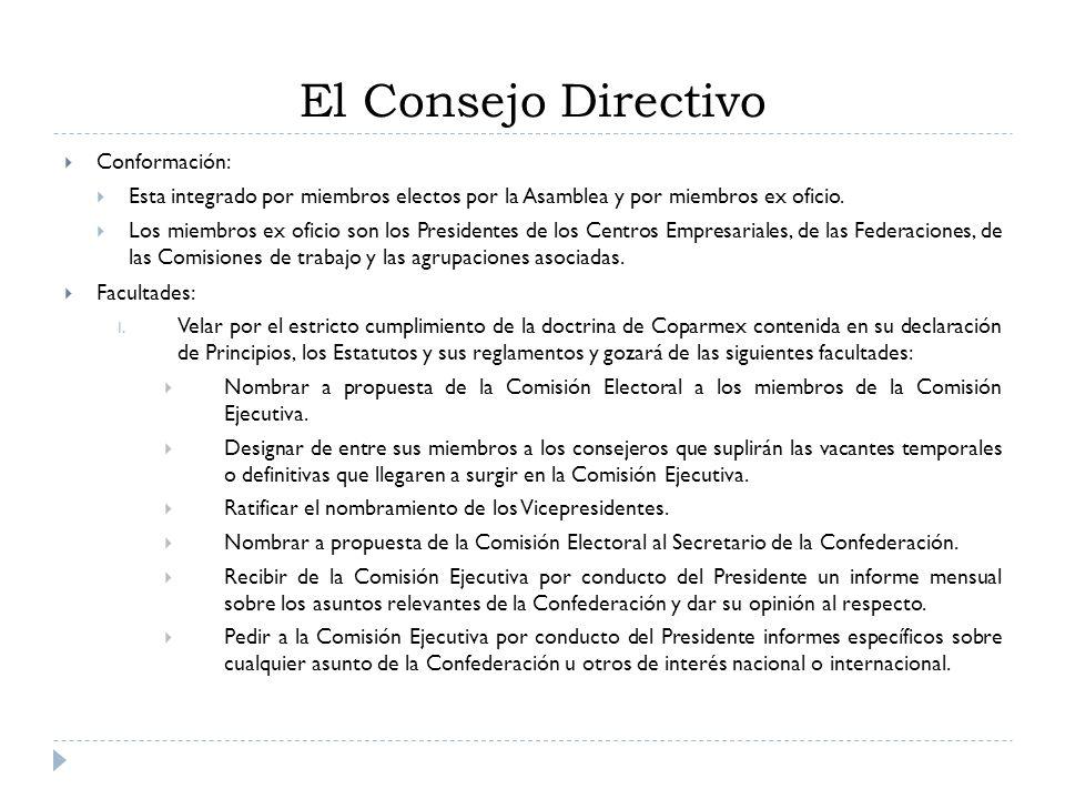 El Consejo Directivo Conformación: