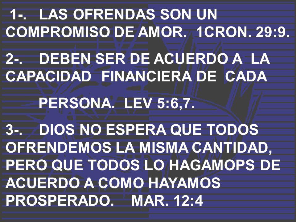 1-. LAS OFRENDAS SON UN COMPROMISO DE AMOR. 1CRON. 29:9.