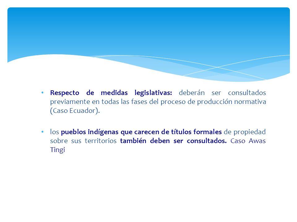 Respecto de medidas legislativas: deberán ser consultados previamente en todas las fases del proceso de producción normativa (Caso Ecuador).