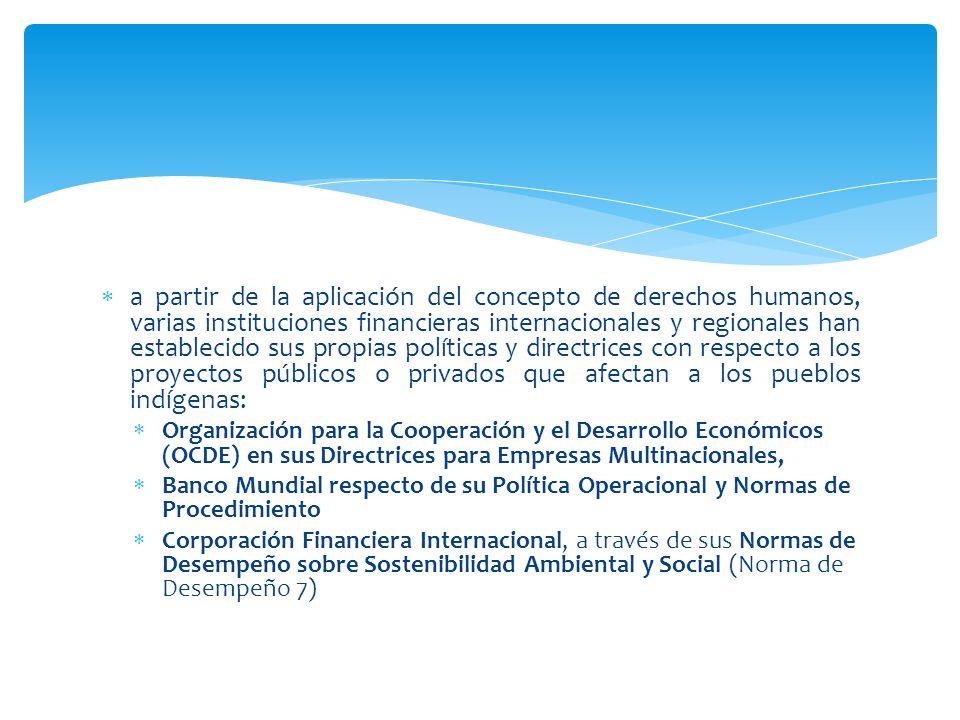 a partir de la aplicación del concepto de derechos humanos, varias instituciones financieras internacionales y regionales han establecido sus propias políticas y directrices con respecto a los proyectos públicos o privados que afectan a los pueblos indígenas:
