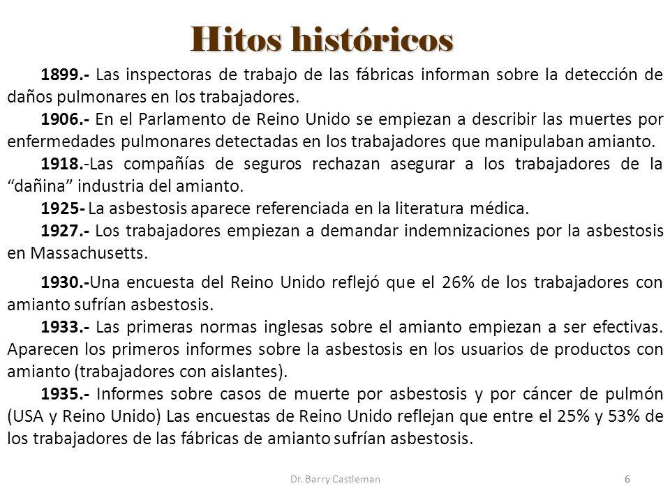 Hitos históricos 1899.- Las inspectoras de trabajo de las fábricas informan sobre la detección de daños pulmonares en los trabajadores.