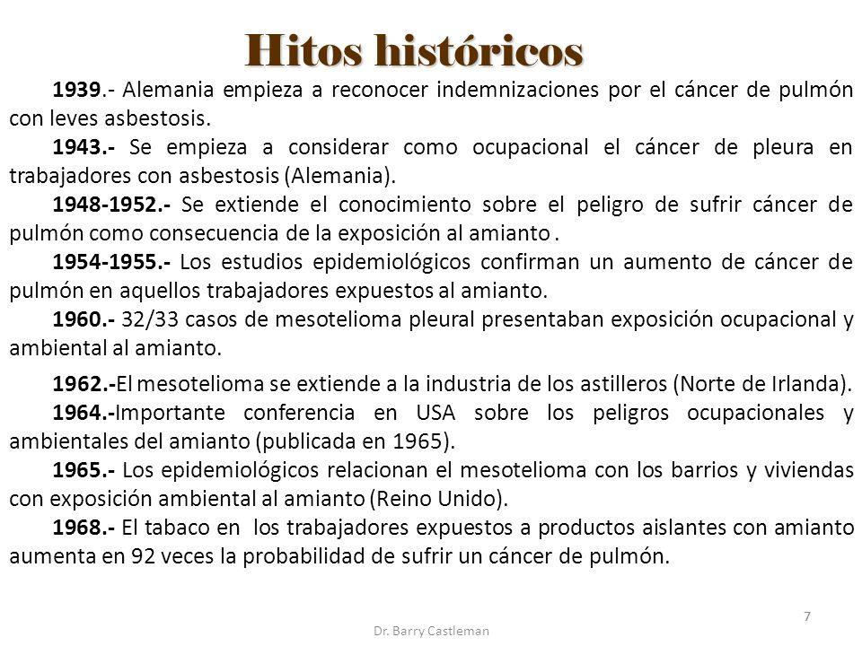 1939.- Alemania empieza a reconocer indemnizaciones por el cáncer de pulmón con leves asbestosis.