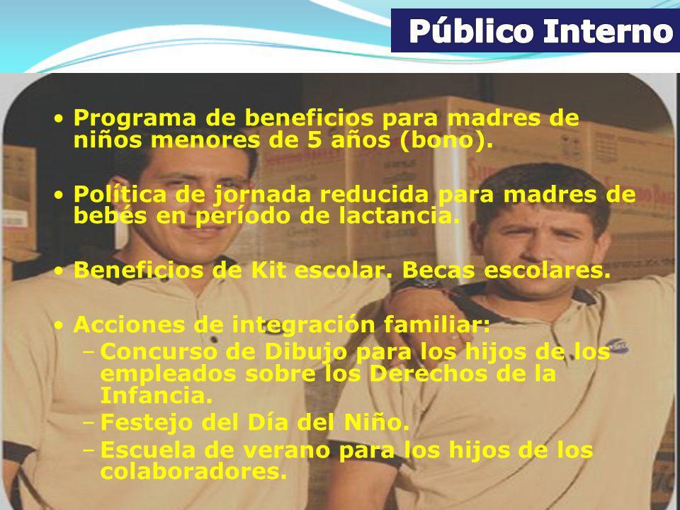 Público Interno Programa de beneficios para madres de niños menores de 5 años (bono).