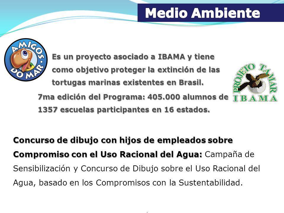 Medio Ambiente Es un proyecto asociado a IBAMA y tiene como objetivo proteger la extinción de las tortugas marinas existentes en Brasil.