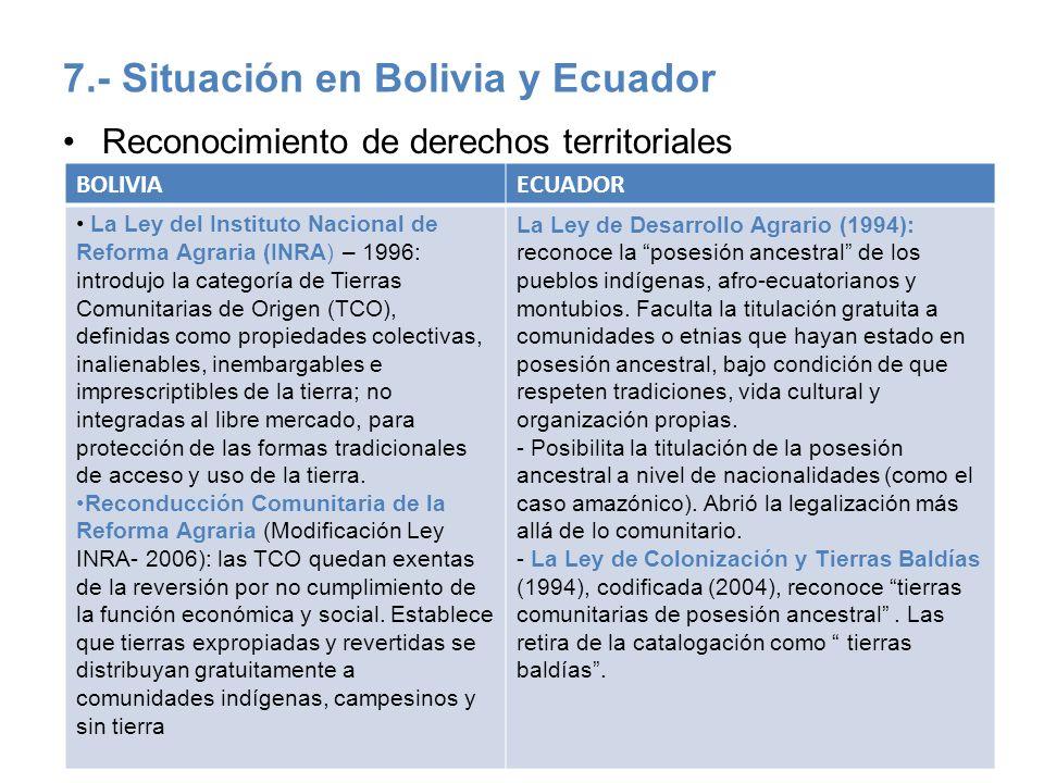 7.- Situación en Bolivia y Ecuador