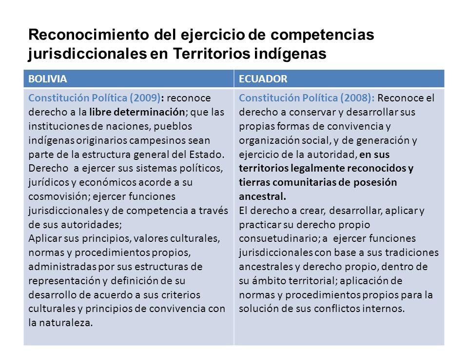 Reconocimiento del ejercicio de competencias jurisdiccionales en Territorios indígenas
