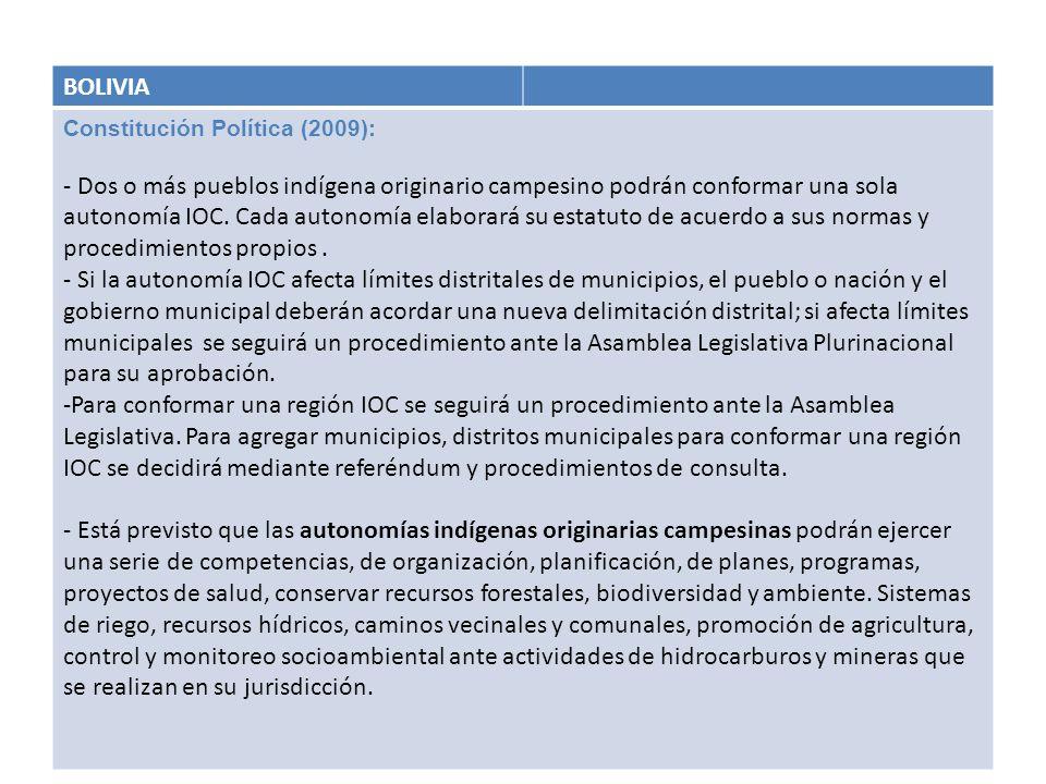 BOLIVIA Constitución Política (2009):