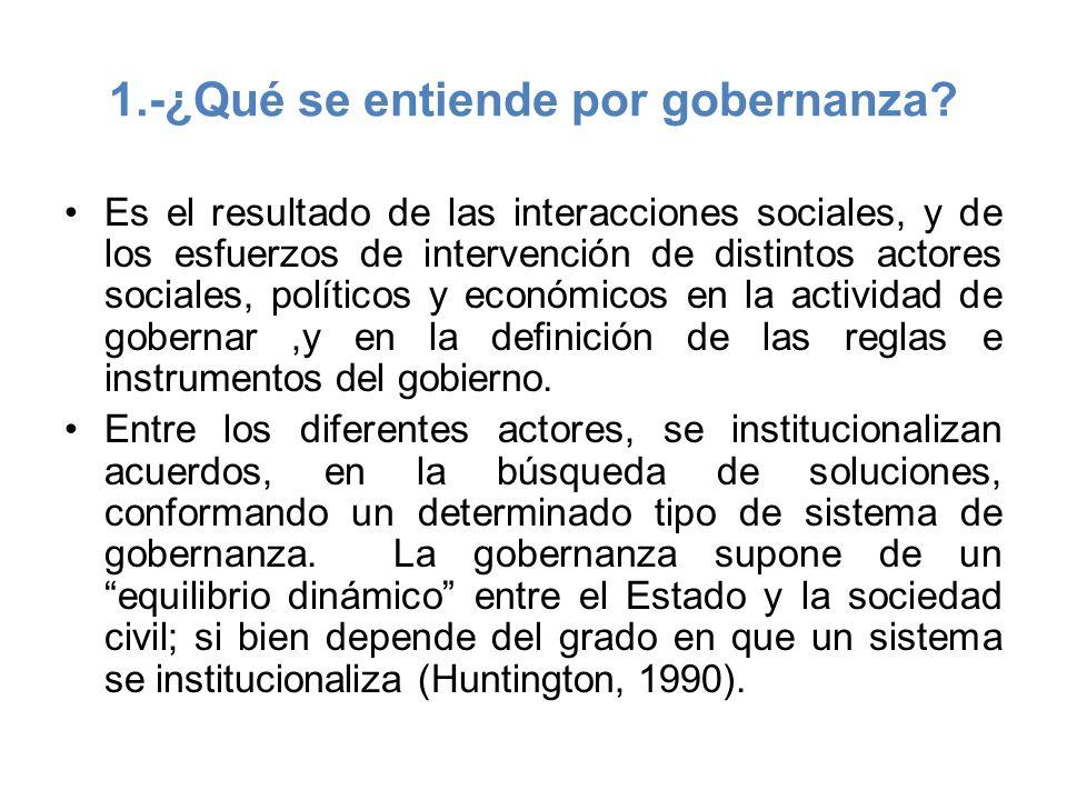 1.-¿Qué se entiende por gobernanza