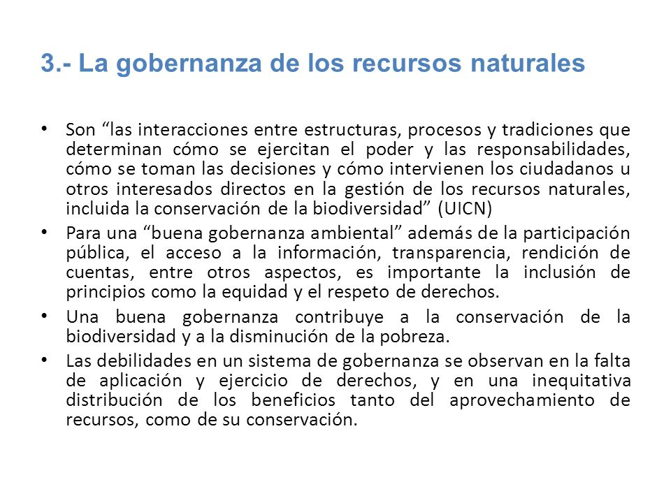 3.- La gobernanza de los recursos naturales
