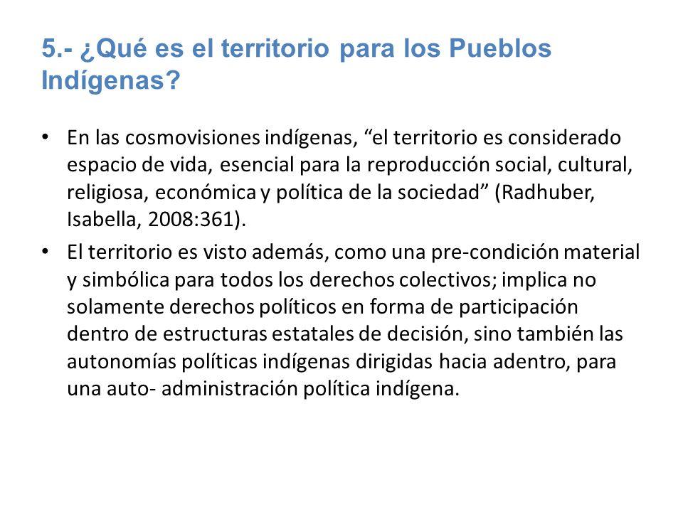 5.- ¿Qué es el territorio para los Pueblos Indígenas