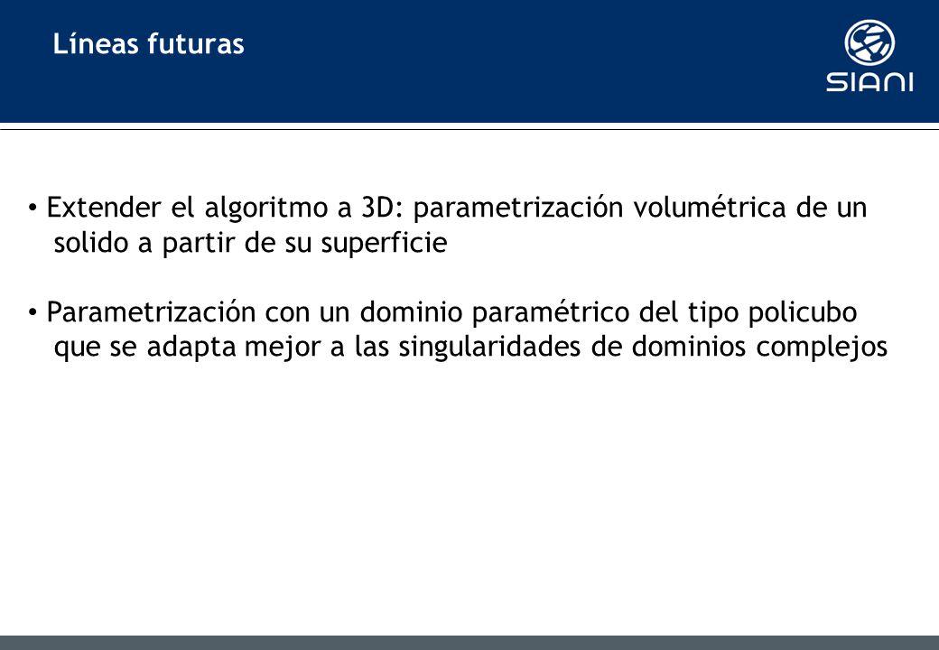 Líneas futuras Extender el algoritmo a 3D: parametrización volumétrica de un. solido a partir de su superficie.