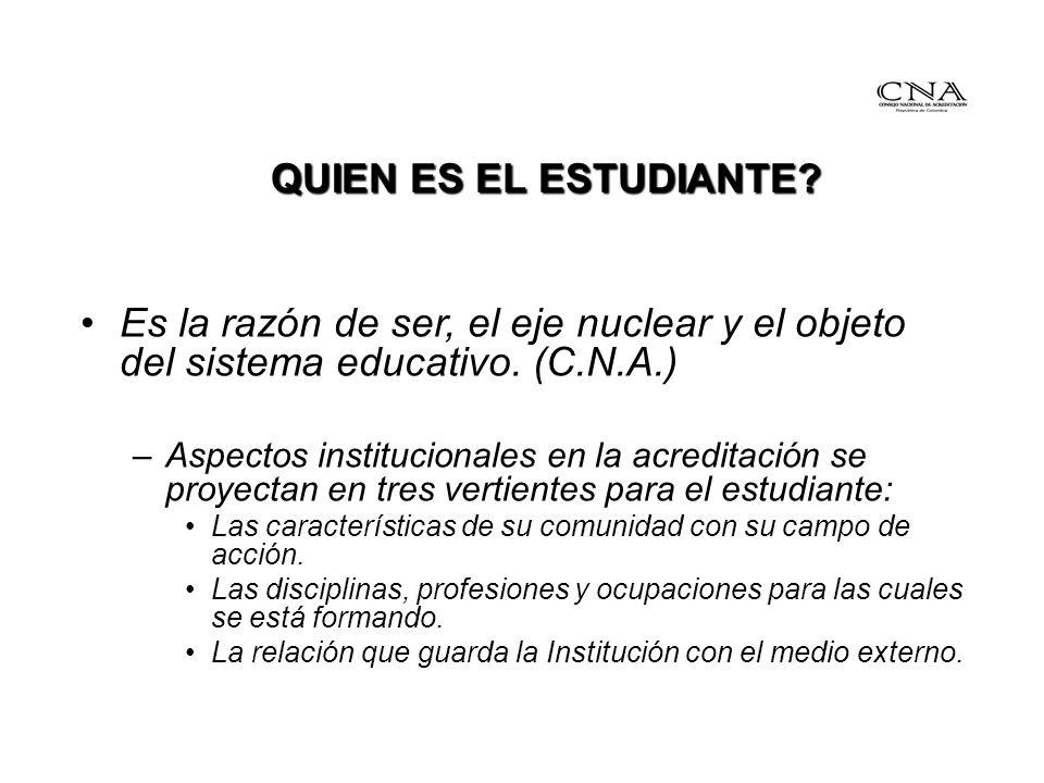 QUIEN ES EL ESTUDIANTE Es la razón de ser, el eje nuclear y el objeto del sistema educativo. (C.N.A.)