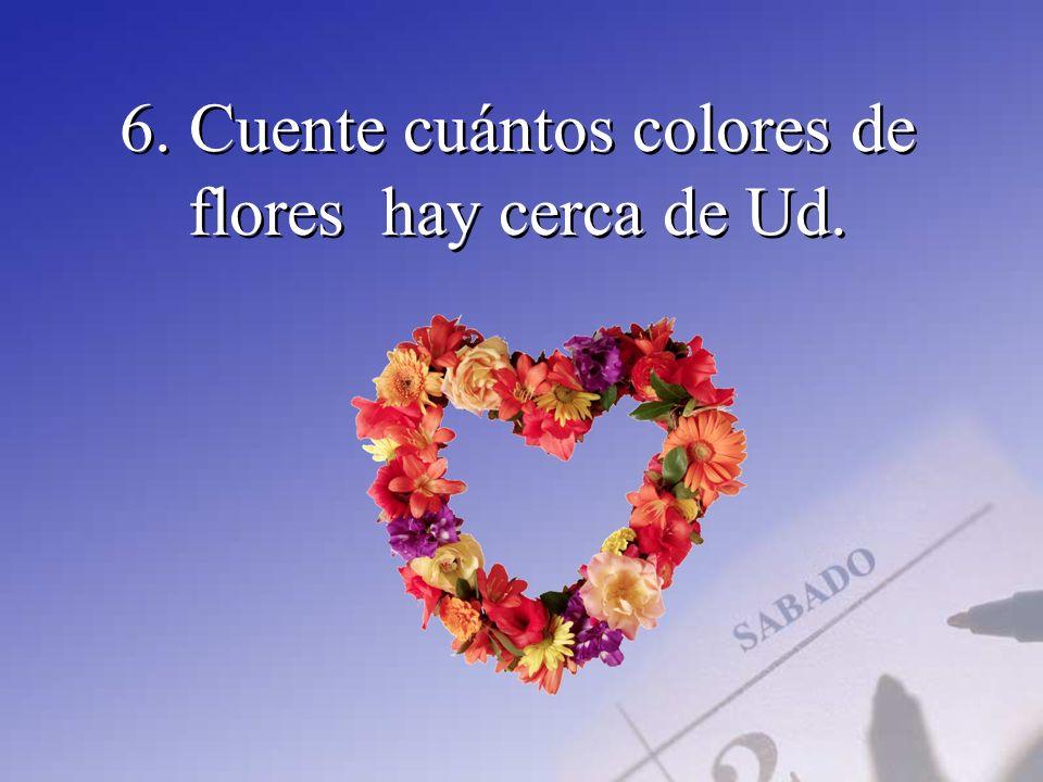 6. Cuente cuántos colores de flores hay cerca de Ud.