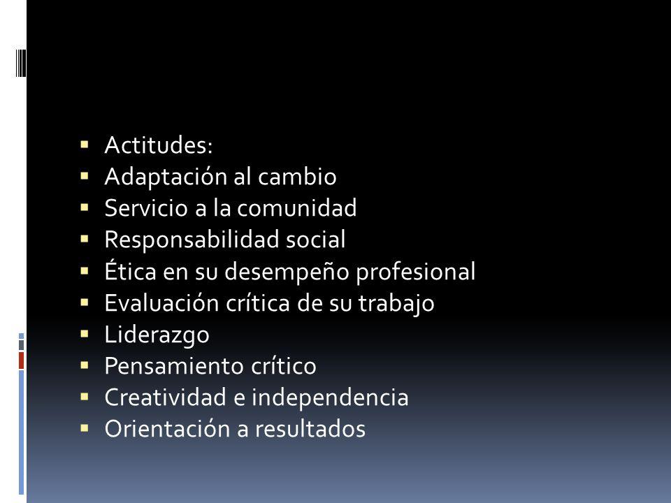 Actitudes:Adaptación al cambio. Servicio a la comunidad. Responsabilidad social. Ética en su desempeño profesional.