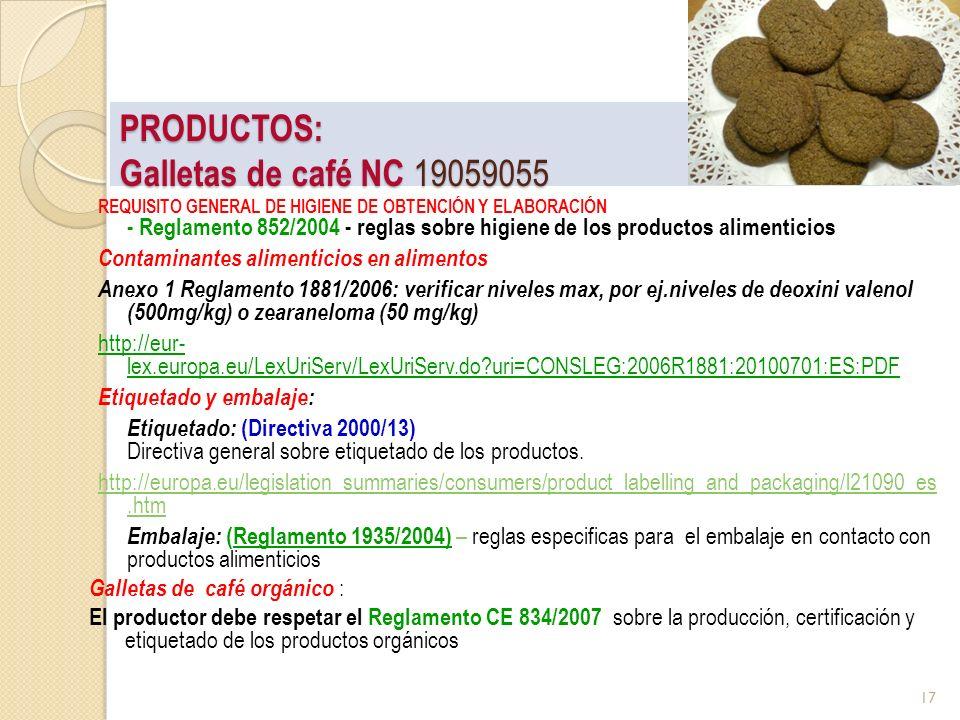 PRODUCTOS: Galletas de café NC 19059055