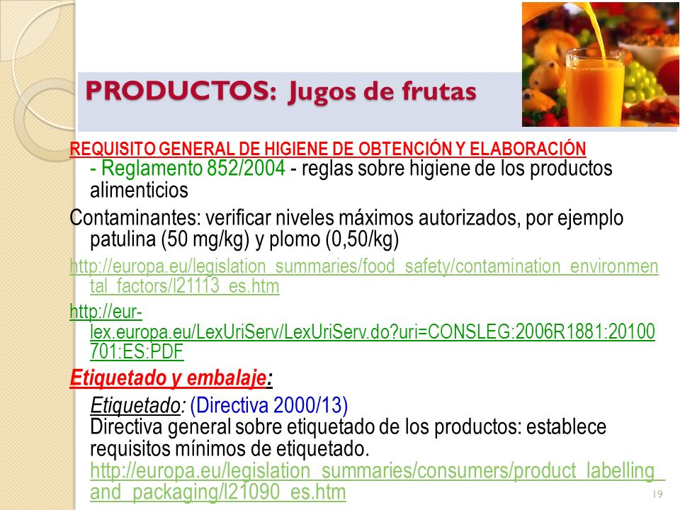 PRODUCTOS: Jugos de frutas