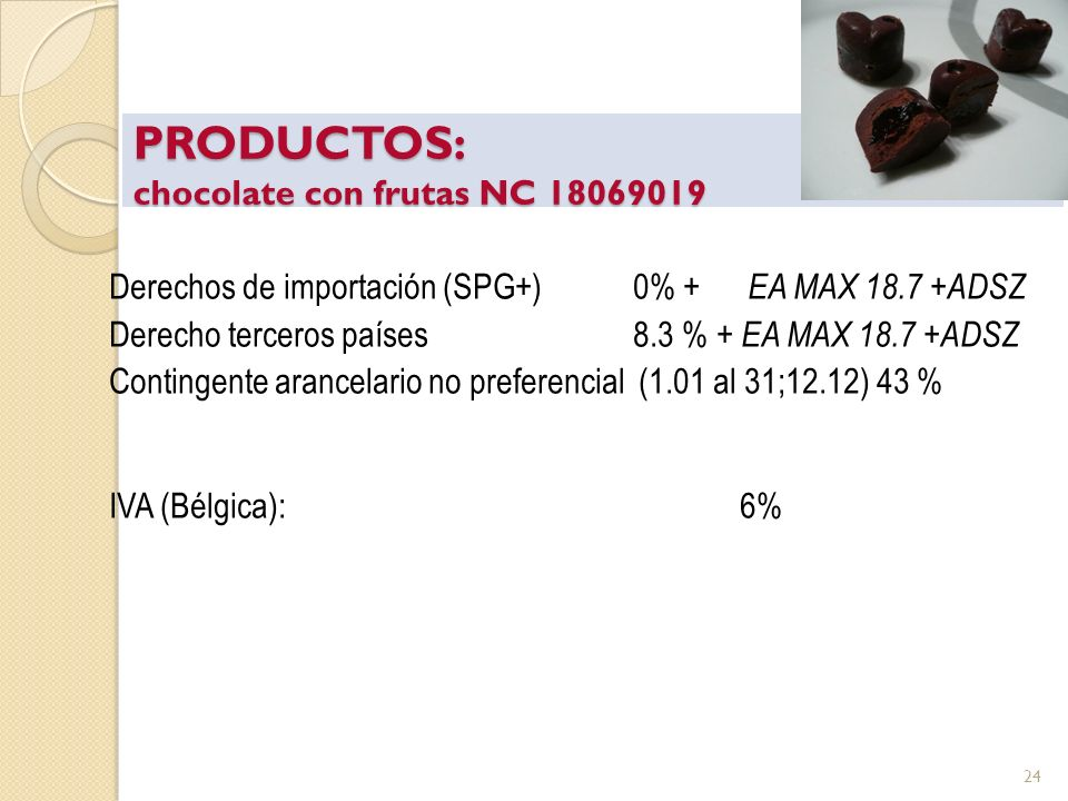 PRODUCTOS: chocolate con frutas NC 18069019