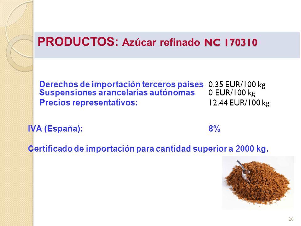 PRODUCTOS: Azúcar refinado NC 170310