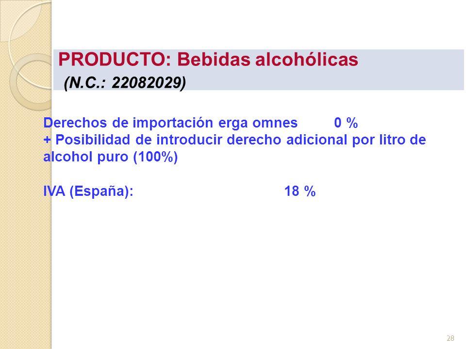 PRODUCTO: Bebidas alcohólicas (N.C.: 22082029)