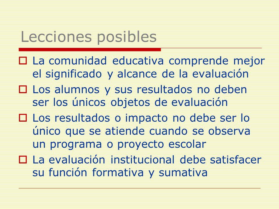 Lecciones posibles La comunidad educativa comprende mejor el significado y alcance de la evaluación.
