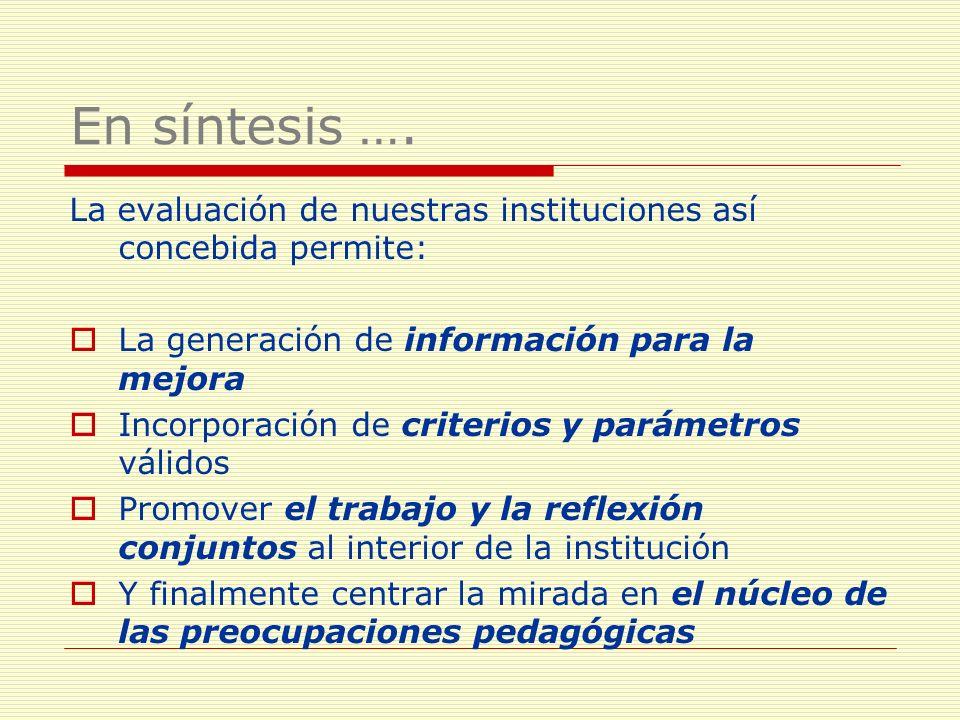 En síntesis …. La evaluación de nuestras instituciones así concebida permite: La generación de información para la mejora.