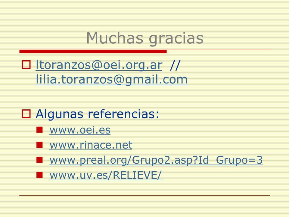 Muchas gracias ltoranzos@oei.org.ar // lilia.toranzos@gmail.com