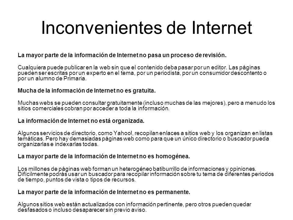 Inconvenientes de Internet