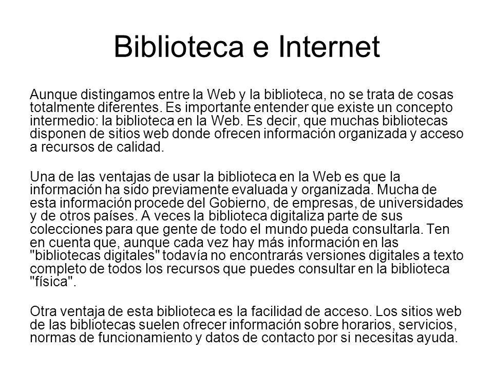 Biblioteca e Internet