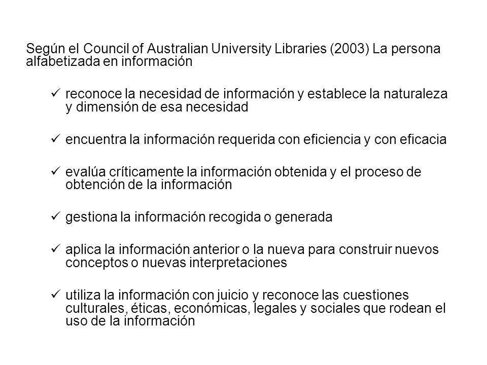 Según el Council of Australian University Libraries (2003) La persona alfabetizada en información