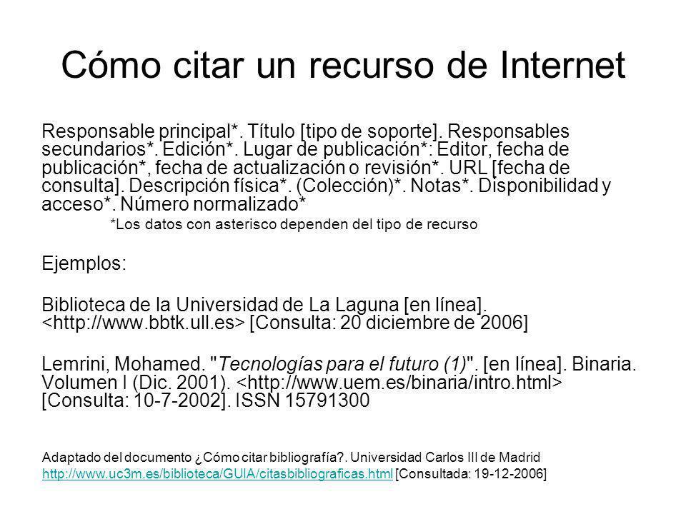 Cómo citar un recurso de Internet