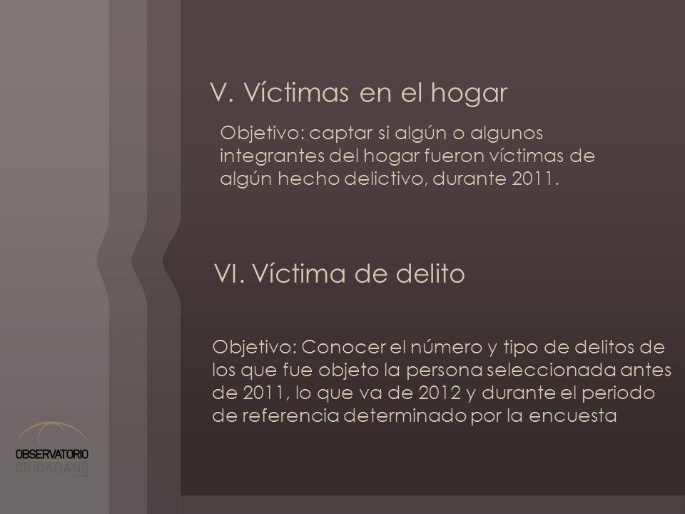 V. Víctimas en el hogar VI. Víctima de delito