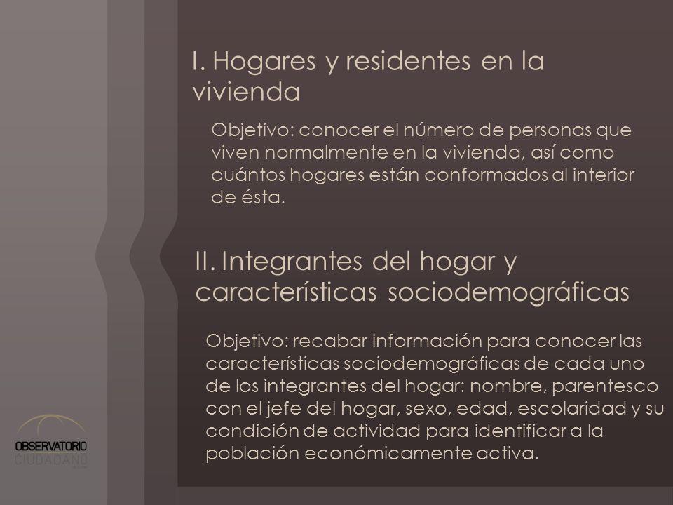 I. Hogares y residentes en la vivienda