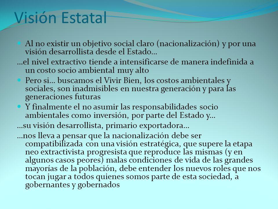 Visión Estatal Al no existir un objetivo social claro (nacionalización) y por una visión desarrollista desde el Estado…