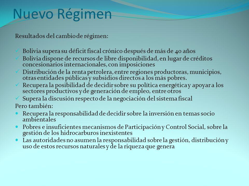 Nuevo Régimen Resultados del cambio de régimen: