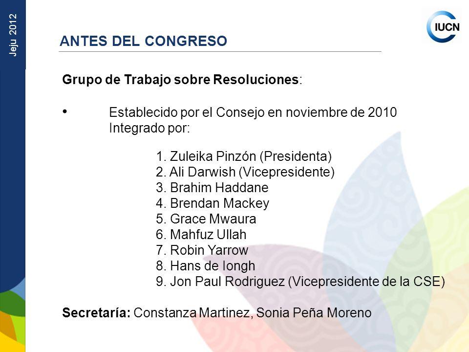 ANTES DEL CONGRESO Grupo de Trabajo sobre Resoluciones: