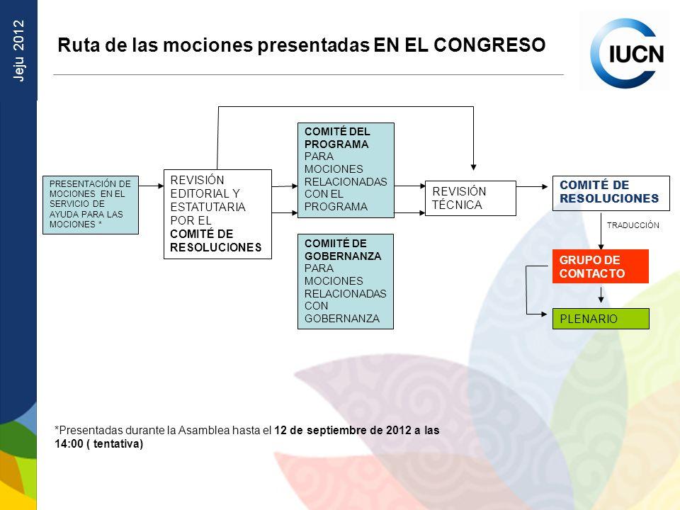 Ruta de las mociones presentadas EN EL CONGRESO
