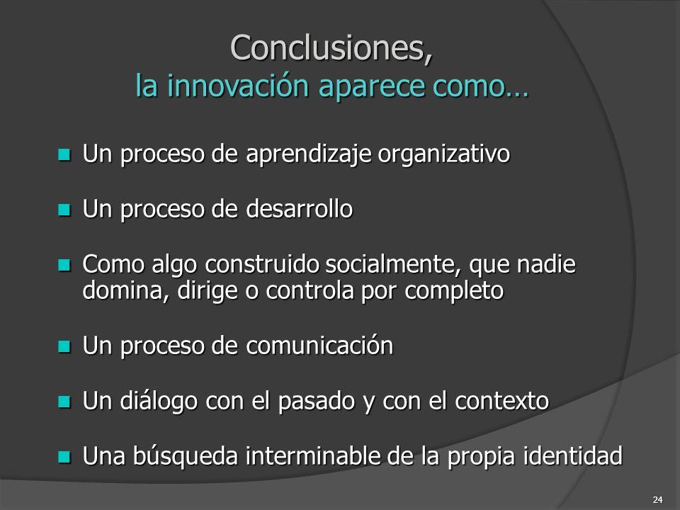 Conclusiones, la innovación aparece como…