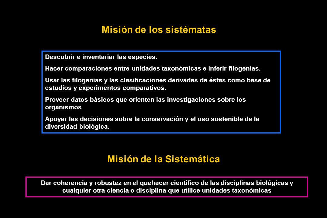 Misión de los sistématas Misión de la Sistemática