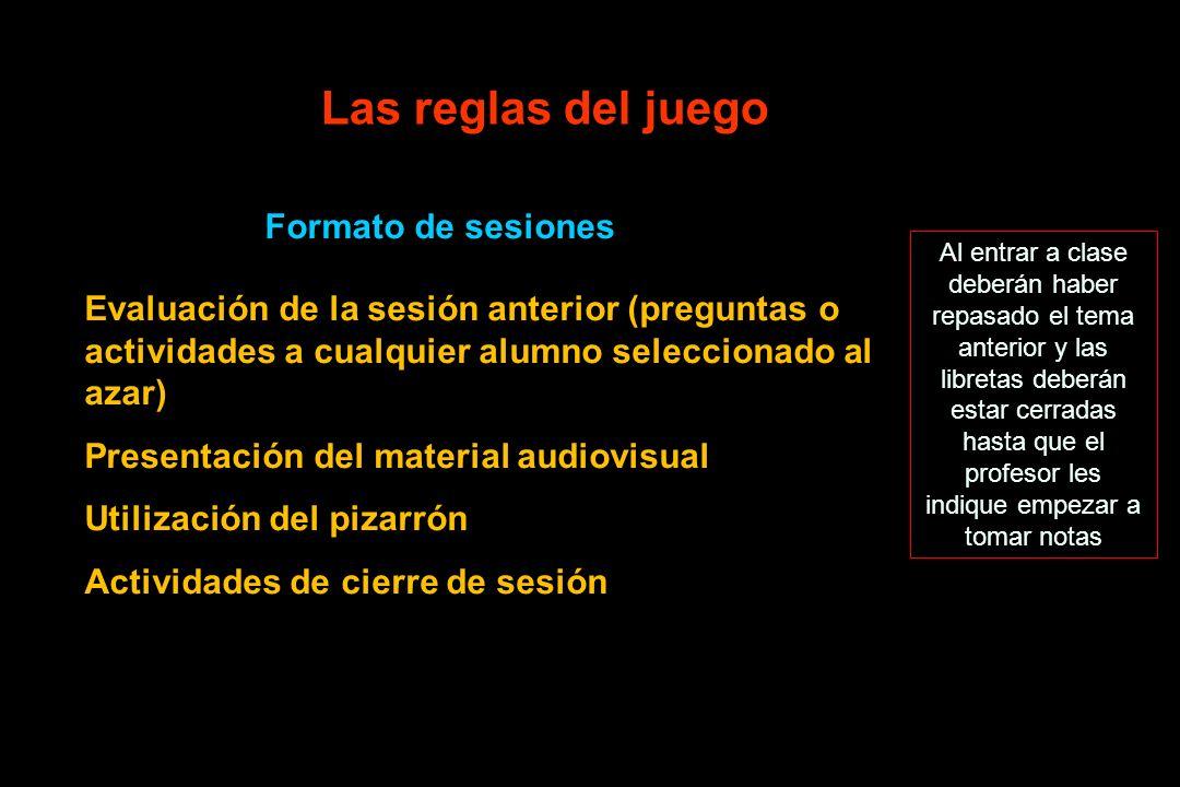 Las reglas del juego Formato de sesiones