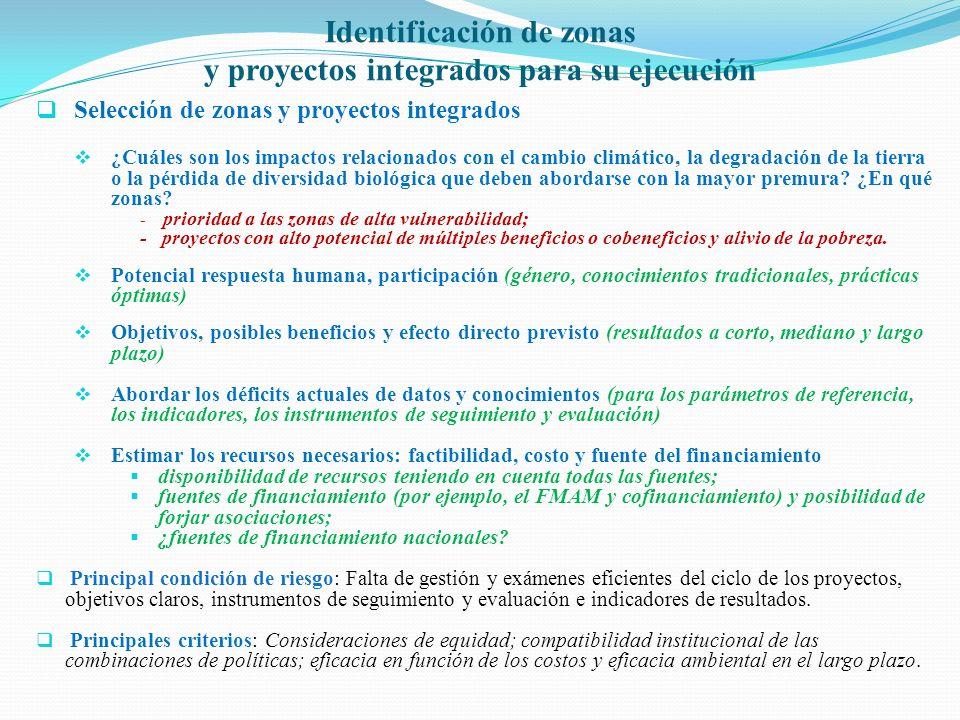 Identificación de zonas y proyectos integrados para su ejecución