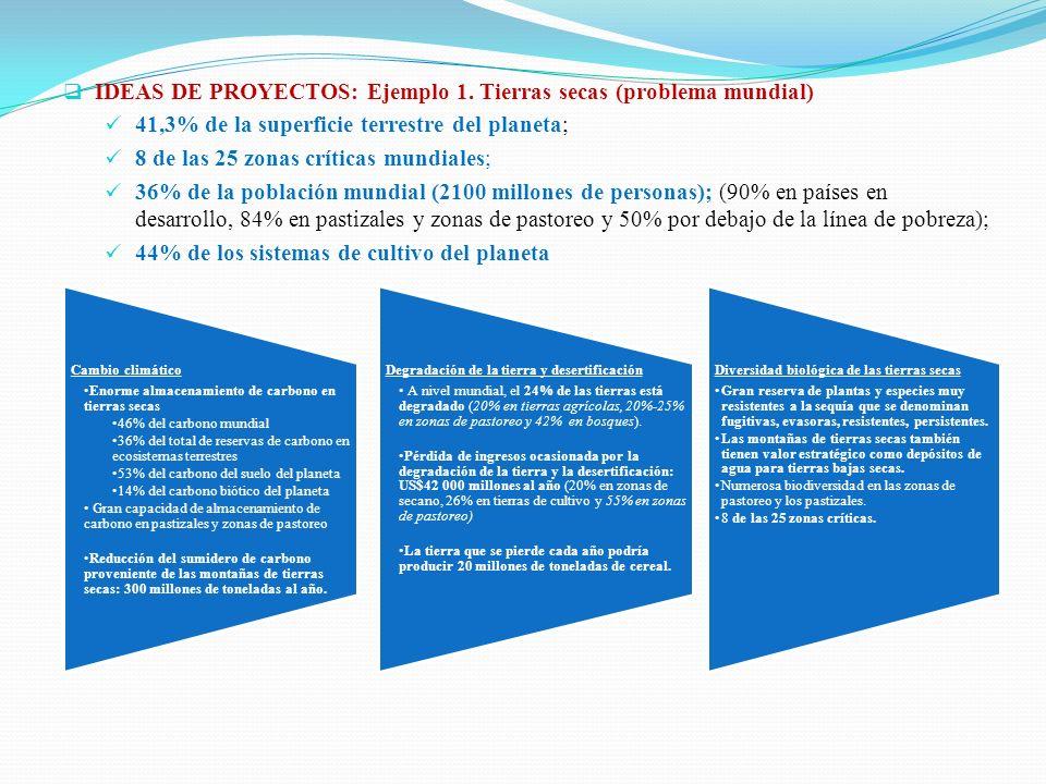 IDEAS DE PROYECTOS: Ejemplo 1. Tierras secas (problema mundial)