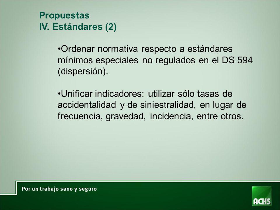 Propuestas IV. Estándares (2) Ordenar normativa respecto a estándares mínimos especiales no regulados en el DS 594 (dispersión).