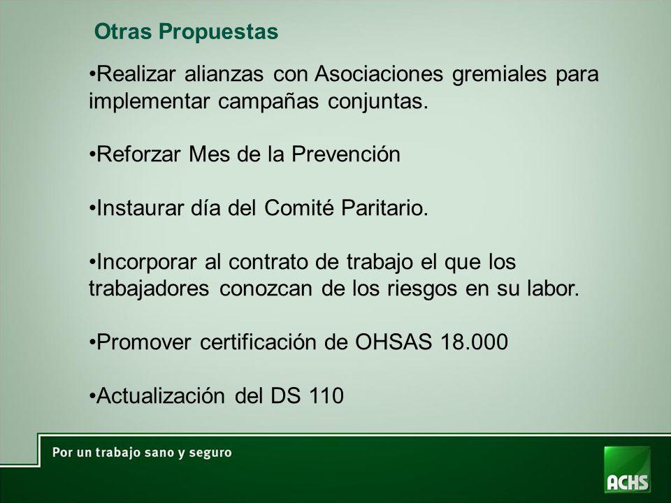 Otras Propuestas Realizar alianzas con Asociaciones gremiales para implementar campañas conjuntas. Reforzar Mes de la Prevención.