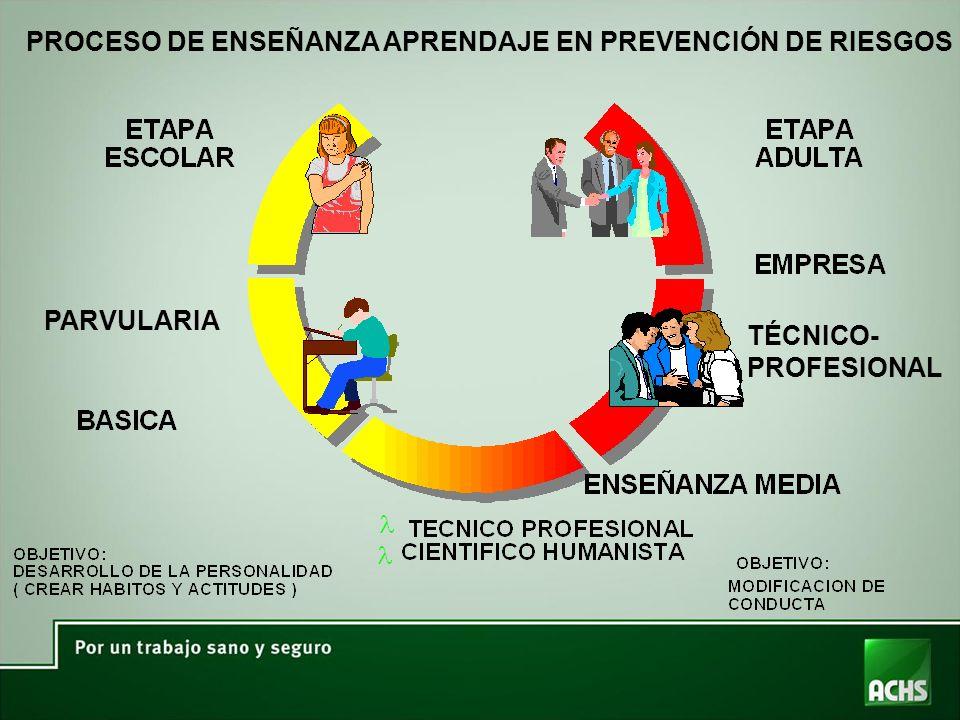PROCESO DE ENSEÑANZA APRENDAJE EN PREVENCIÓN DE RIESGOS