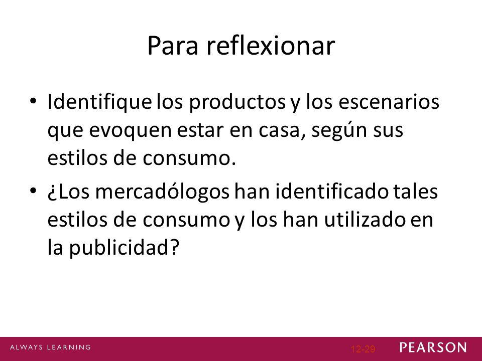 Para reflexionar Identifique los productos y los escenarios que evoquen estar en casa, según sus estilos de consumo.
