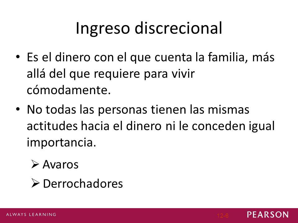 Ingreso discrecional Es el dinero con el que cuenta la familia, más allá del que requiere para vivir cómodamente.