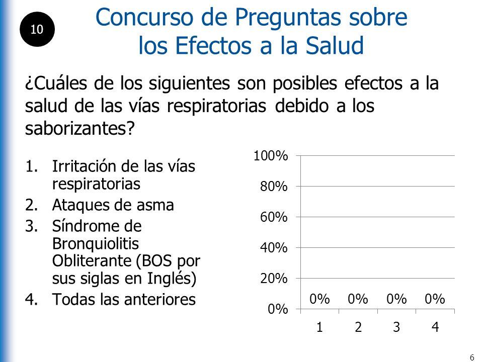 Concurso de Preguntas sobre los Efectos a la Salud