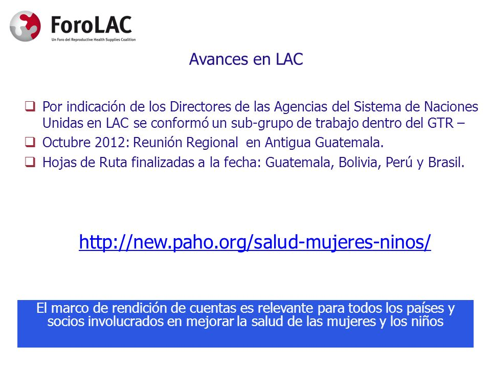 http://new.paho.org/salud-mujeres-ninos/ Avances en LAC